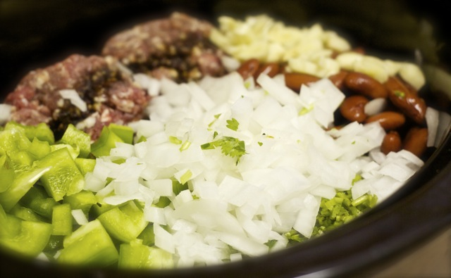 Beef chili in the crockpot
