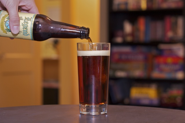 Pouring a glass of Legend Oktoberfest beer. Our personal American favorite
